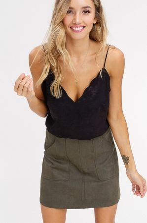 Scallop v neck camisole top